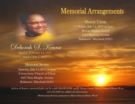 Deborah S Kearse Obituary